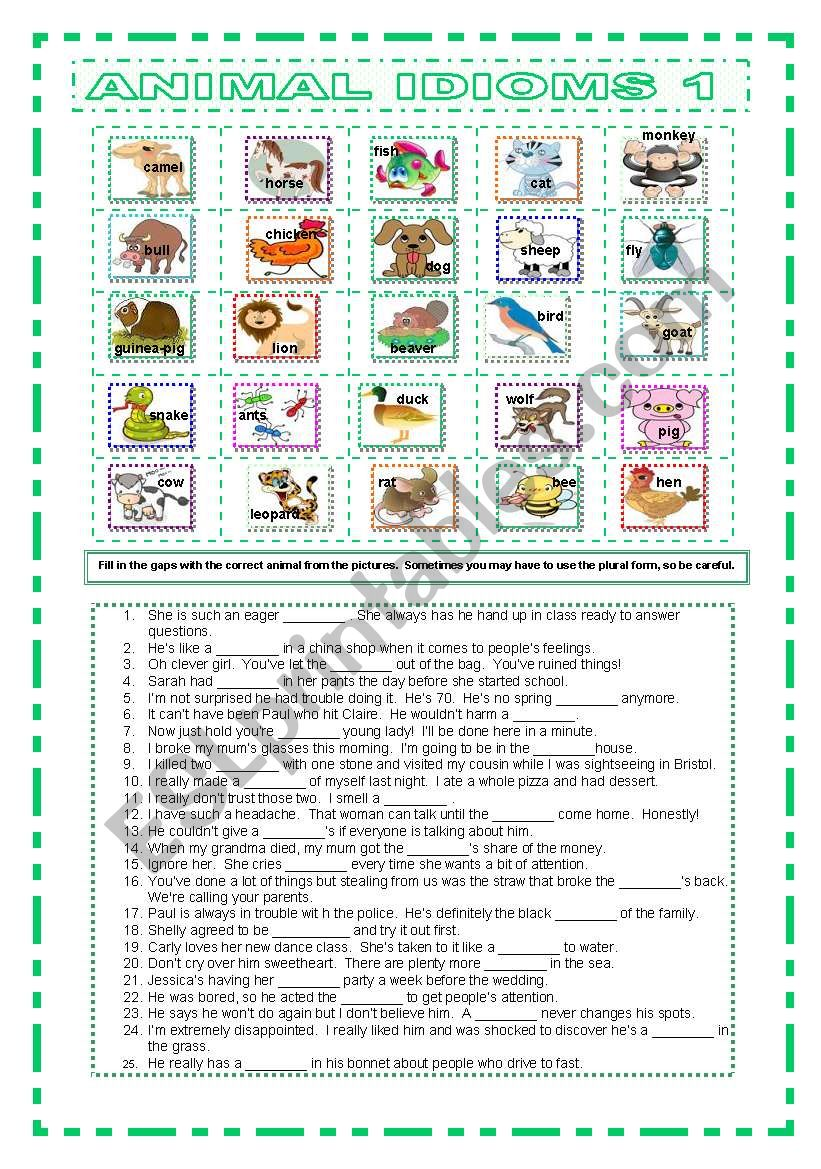 Animal Idioms 1 worksheet