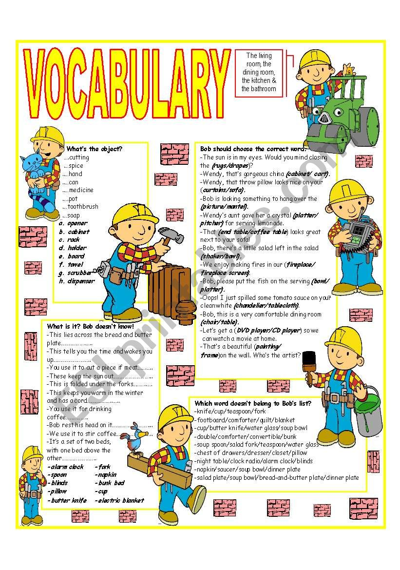 English worksheets: ´RECYCLING VOCABULARY´ - TOPIC: THE LIVING ROOM ...