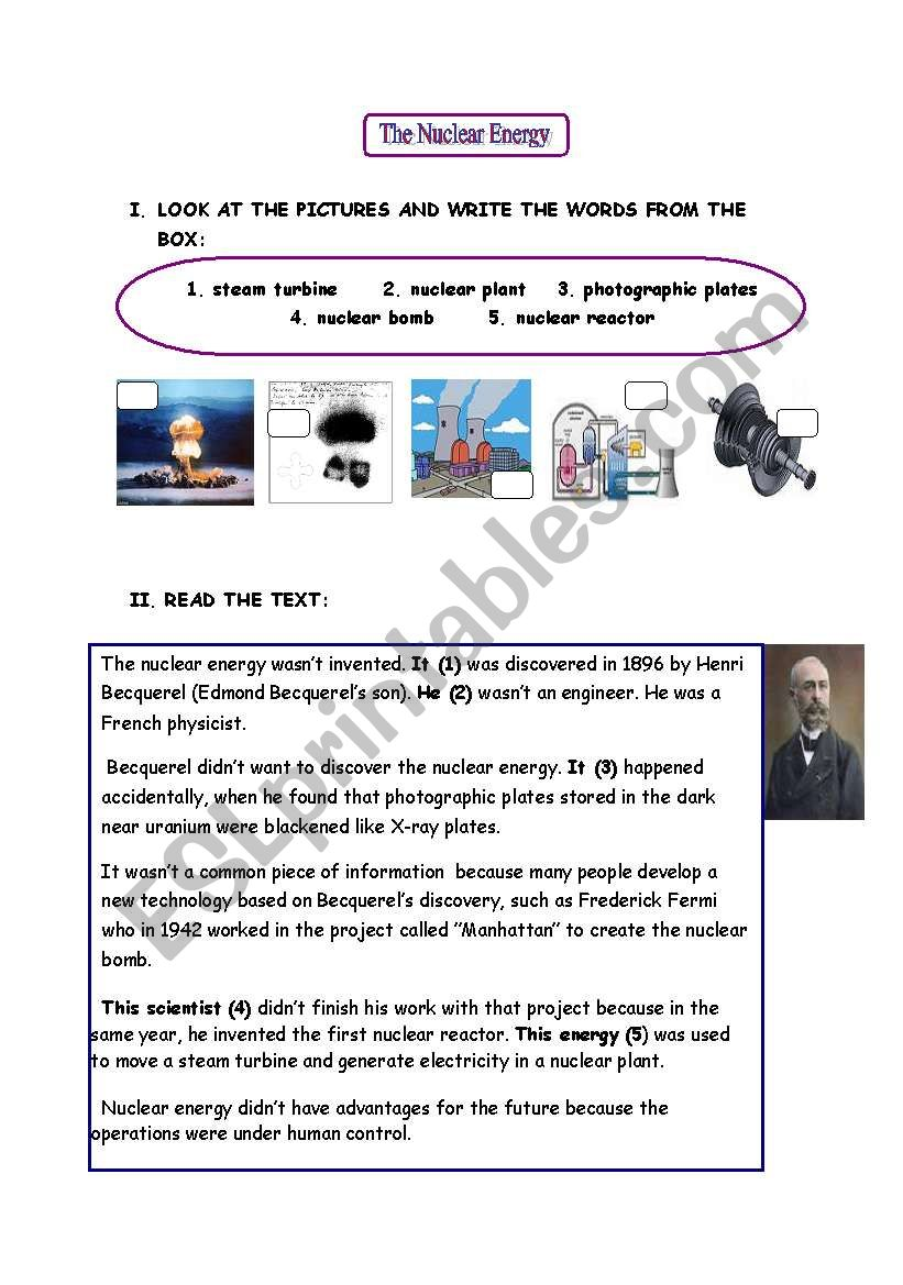 Nuclear energy - ESL worksheet by aniluza