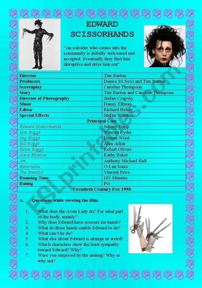 EDWARD SCISSORHANDS - (( 6 pages )) - Complete Unit of Work- intermediate to advanced
