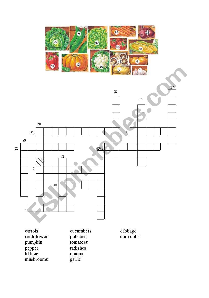 Vegetable Crossword worksheet
