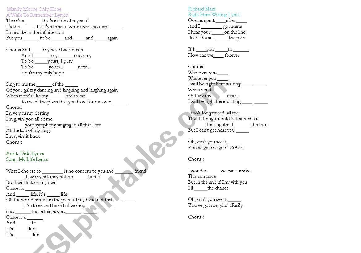 song lyrics worksheet