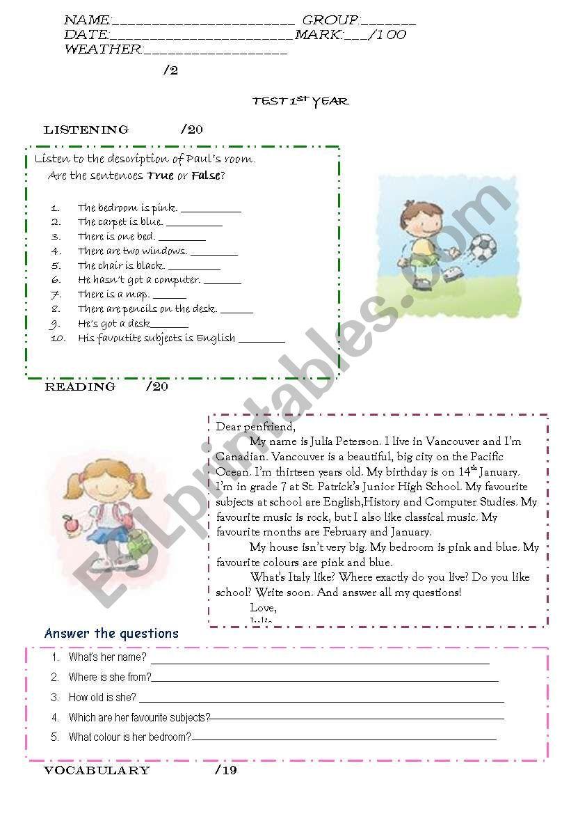 TEST 1 ST YEAR worksheet