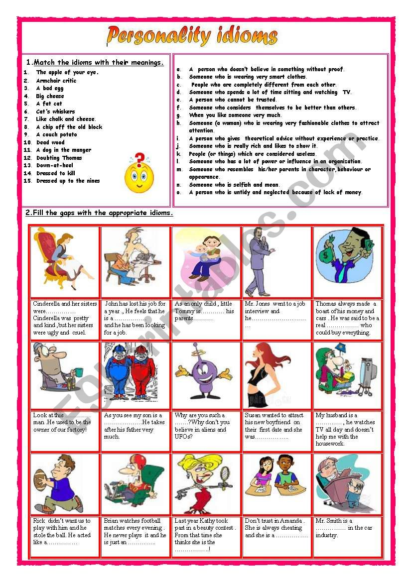 Personality idioms  1 worksheet