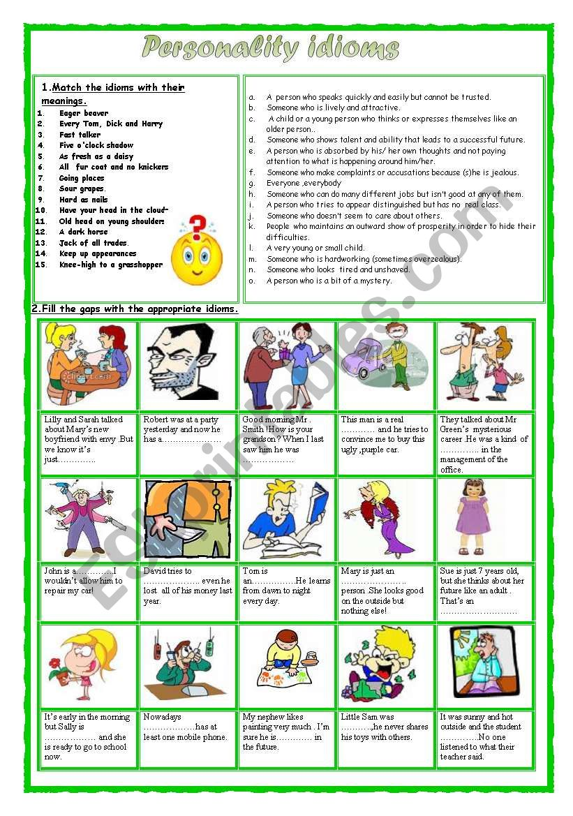 Personality idioms 2 worksheet