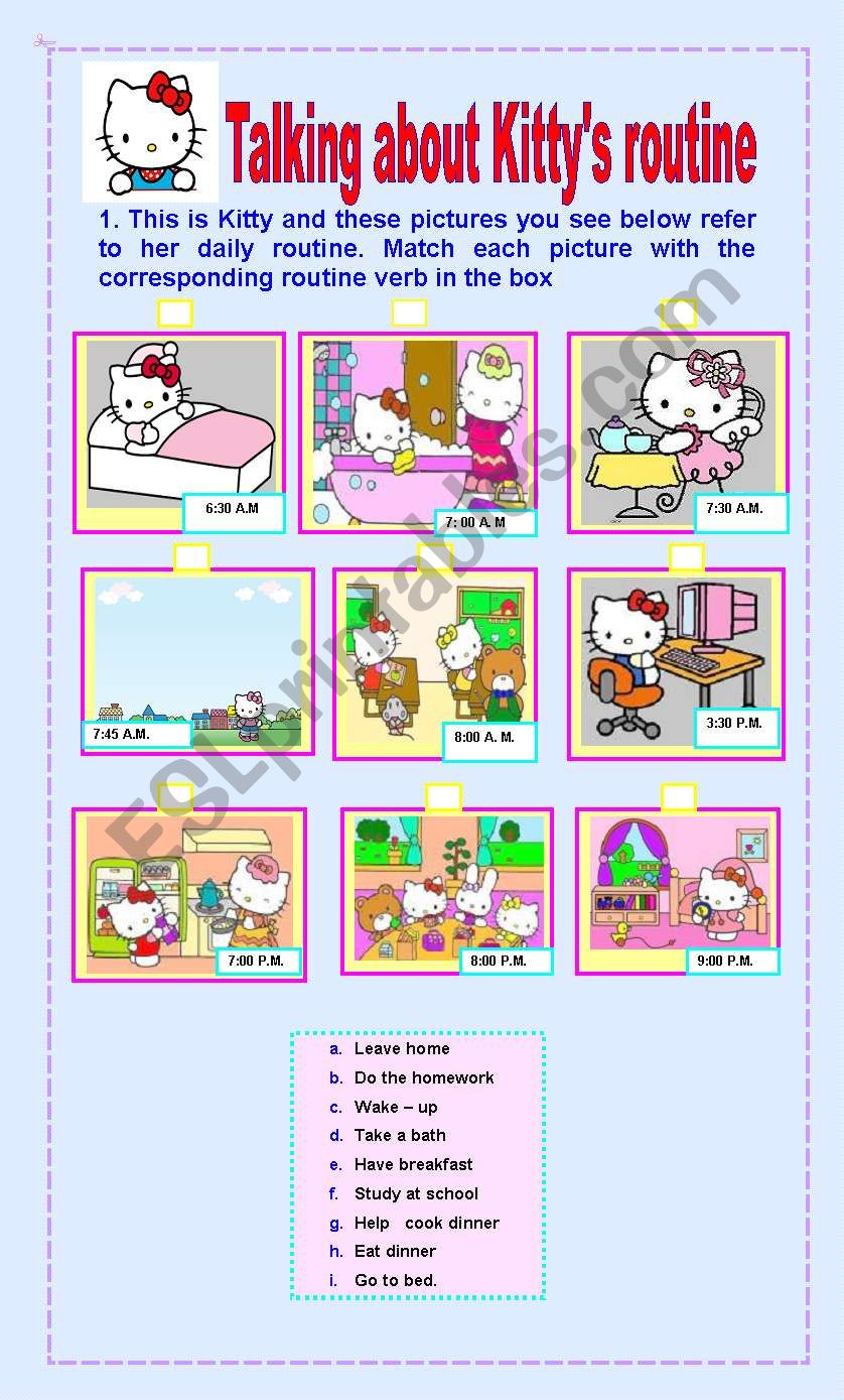 Kitty´s daily routine worksheet