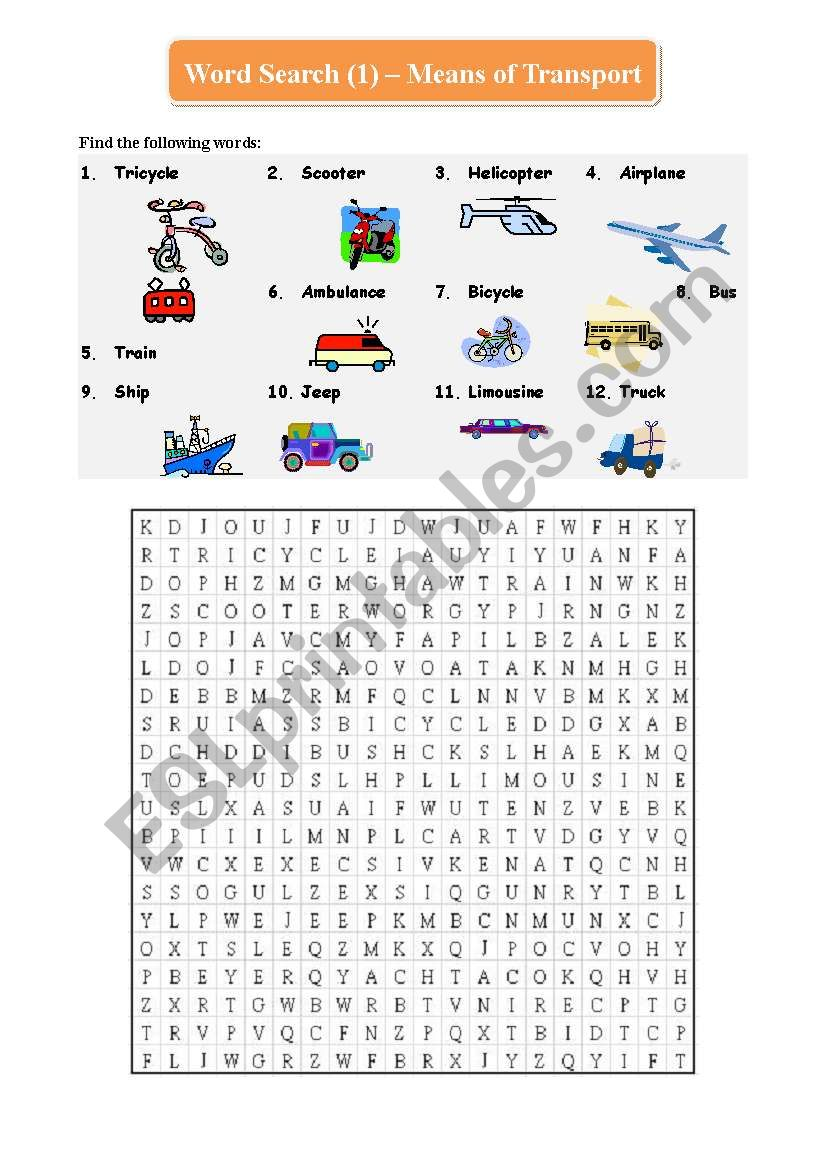 Word Search (1) - Means of Transport