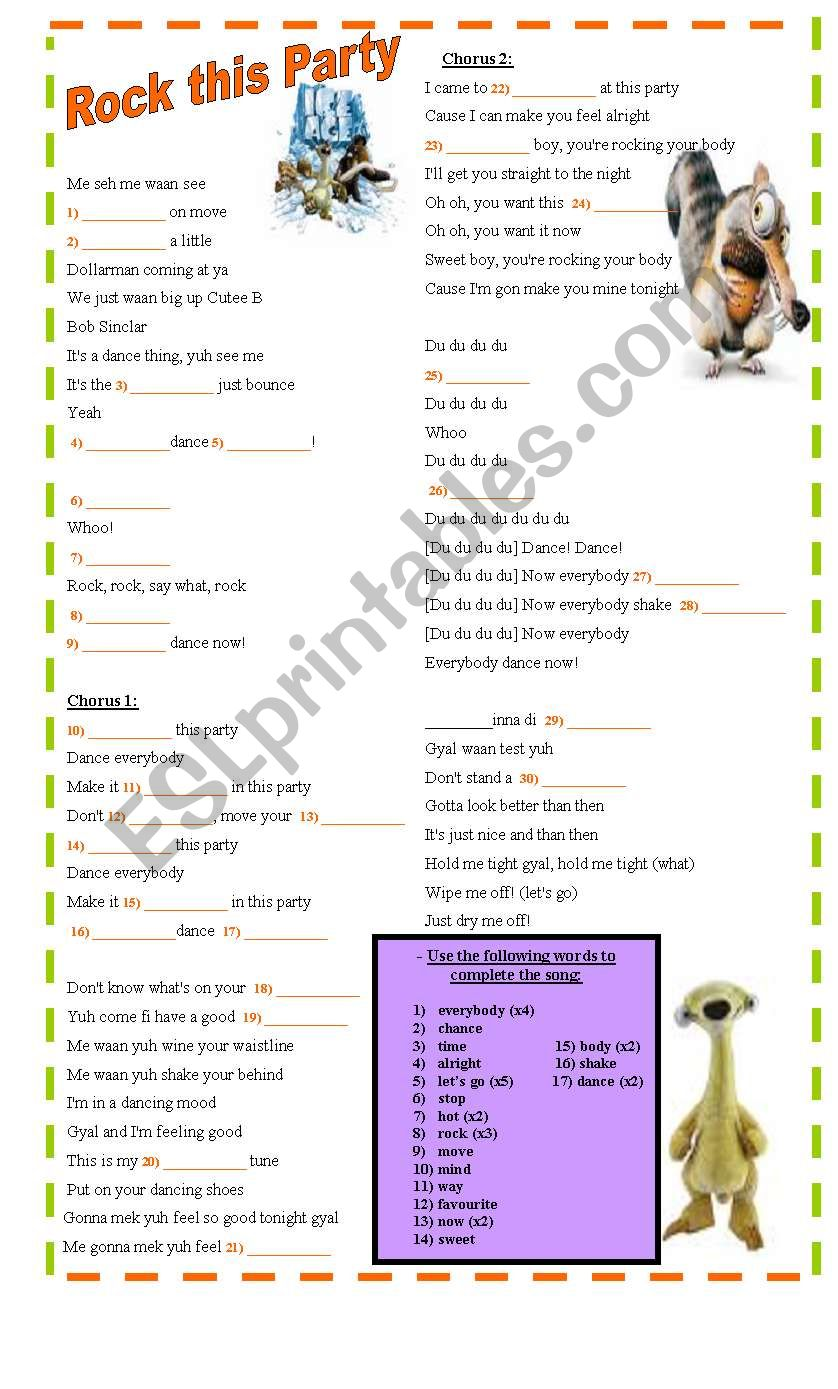 Rock this party (From Ice Age 2) - ESL worksheet by CaballerodeChoke