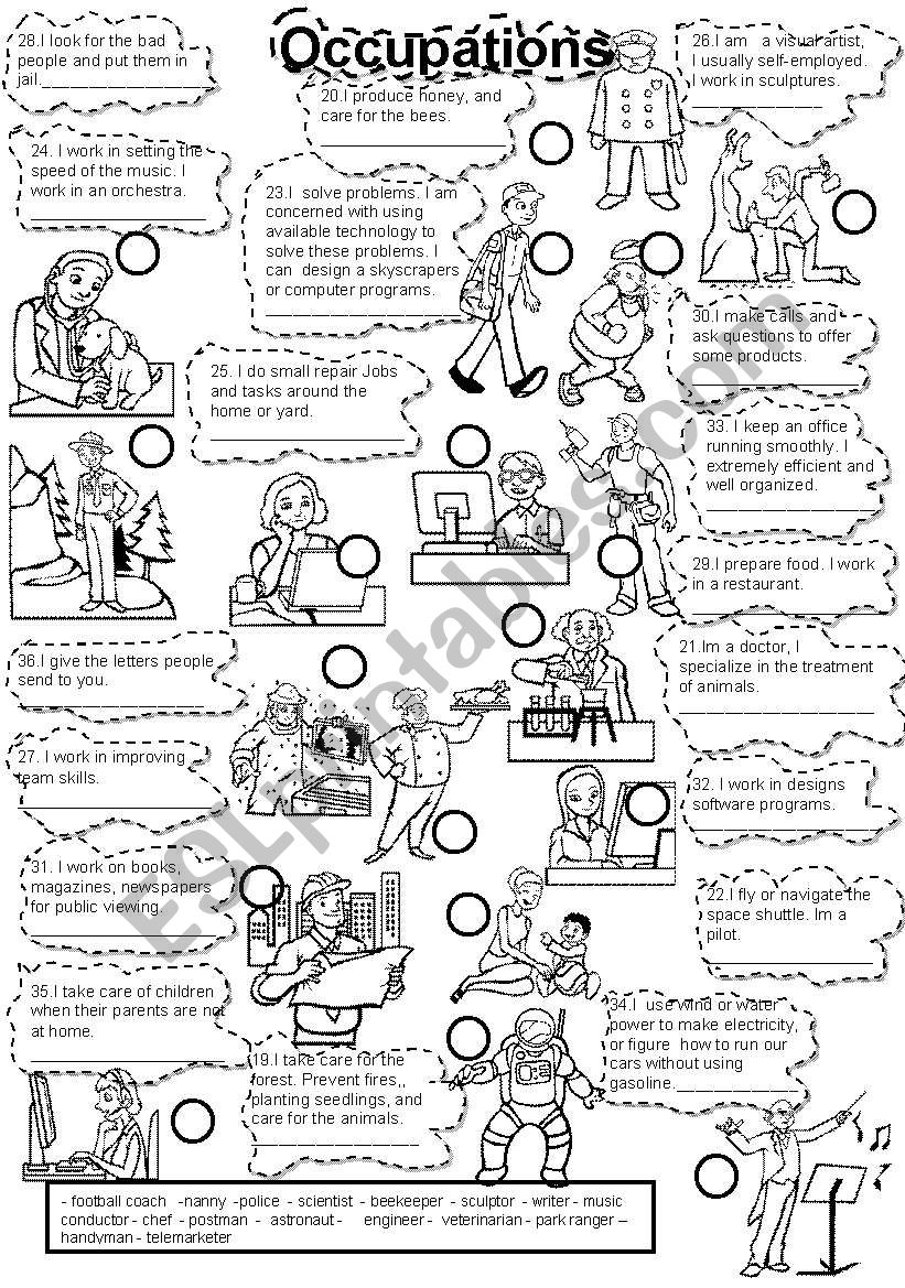 English worksheets: OCCUPATIONS FILL IN #2 JOBS