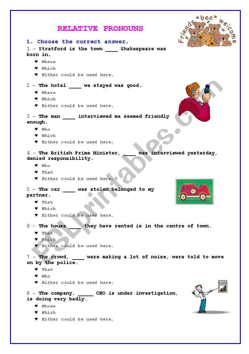 RELATIVE PRONOUNS worksheet