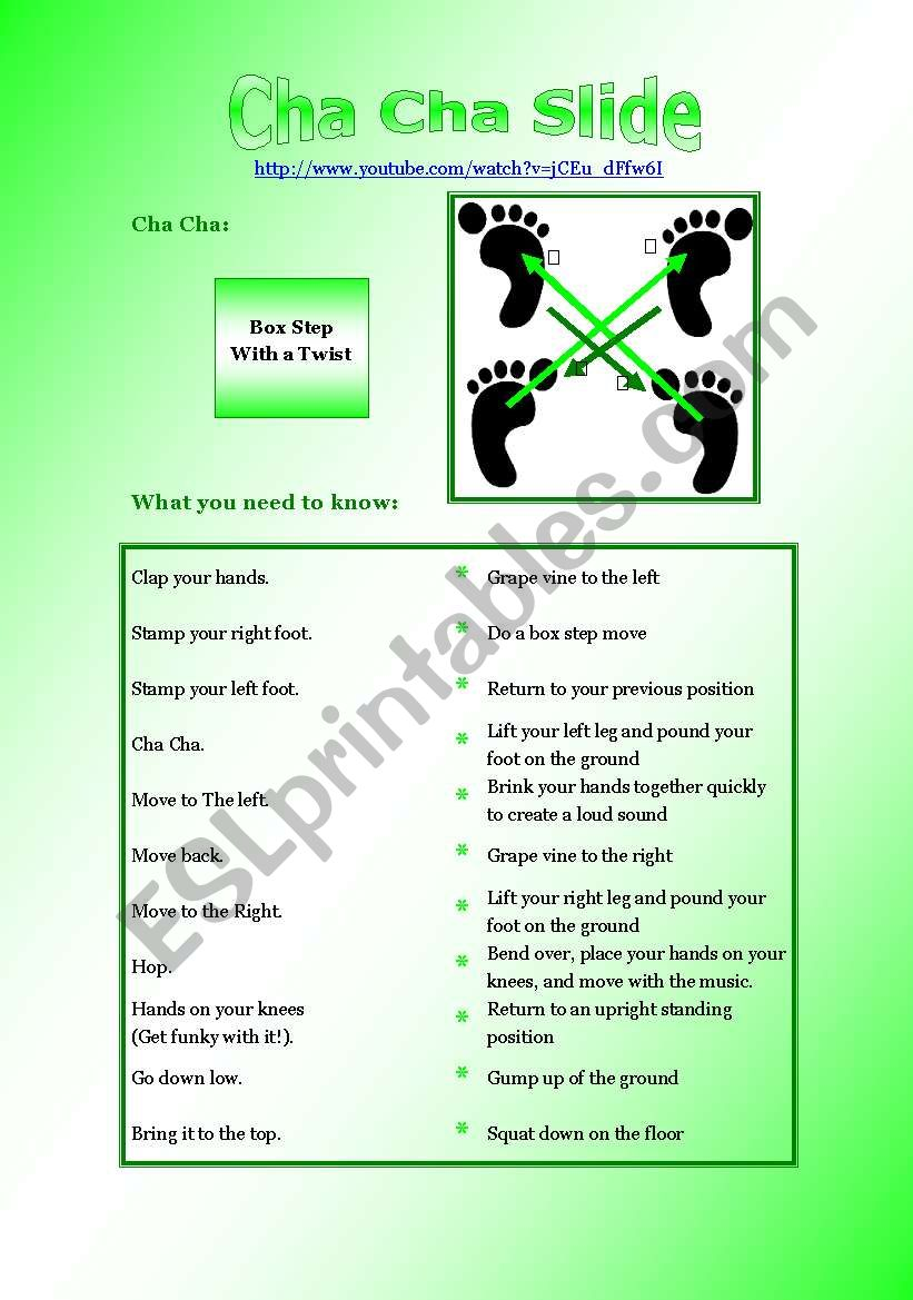 Cha Cha Slide Listening Game worksheet