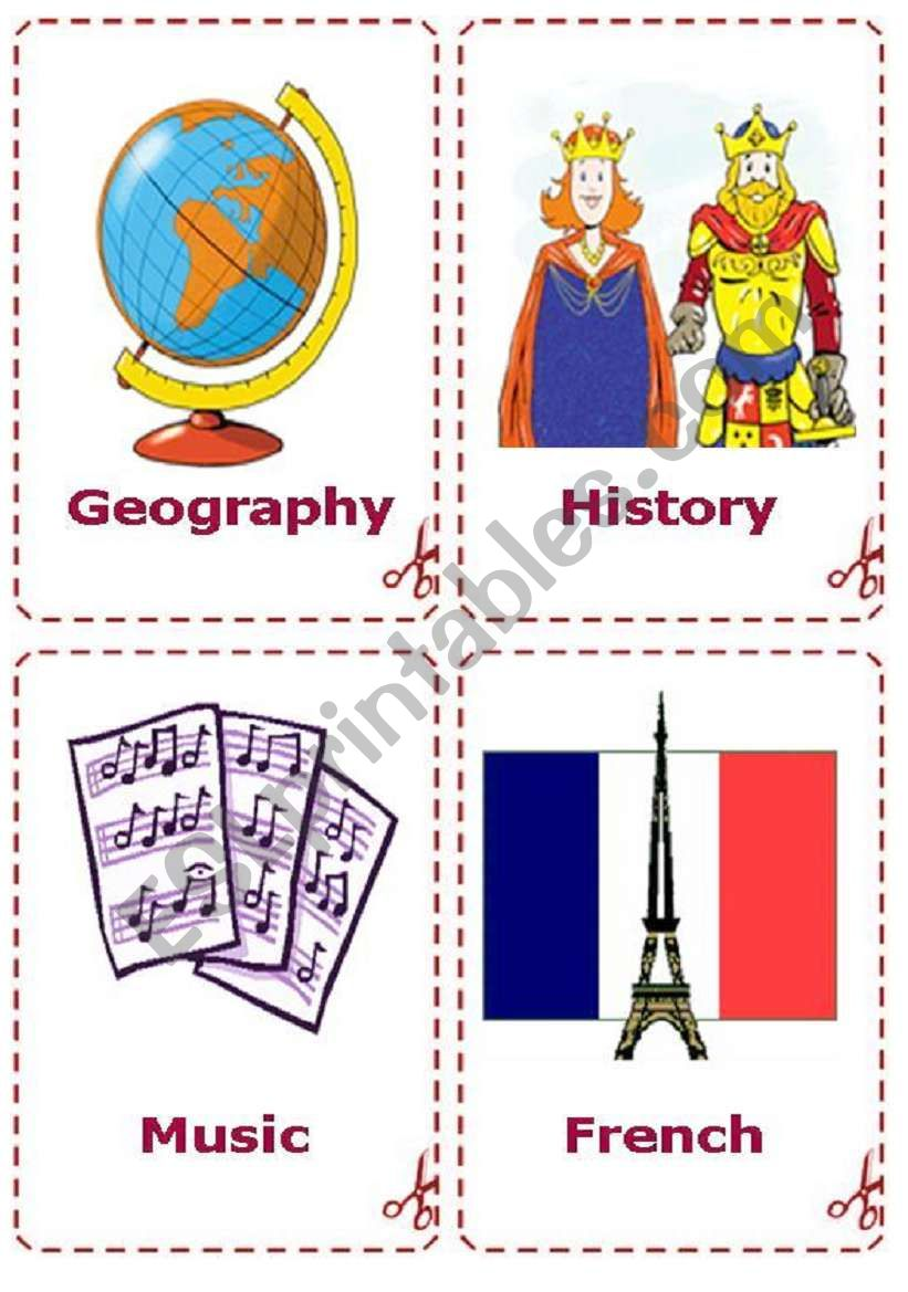english worksheets school subjects flash card. Black Bedroom Furniture Sets. Home Design Ideas