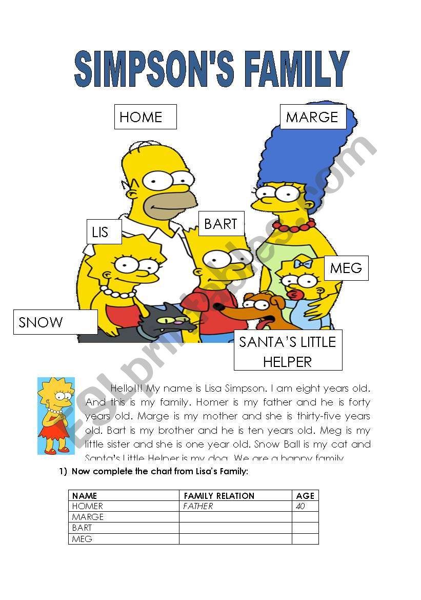 Simpson´s family worksheet