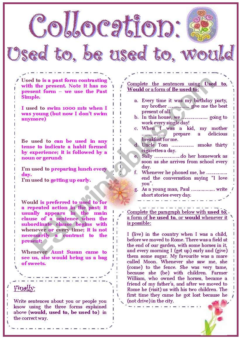 USED TO, BE USED TO, WOULD worksheet