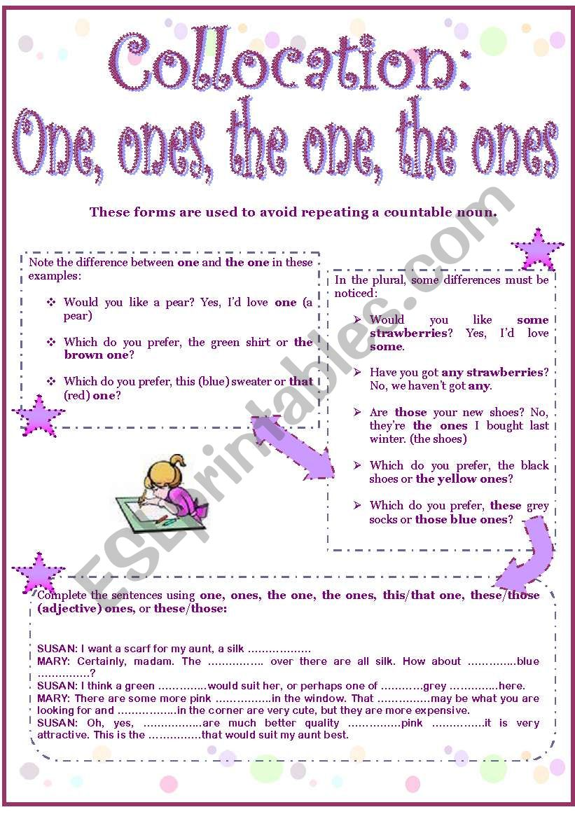 One, ones, the one, the ones worksheet