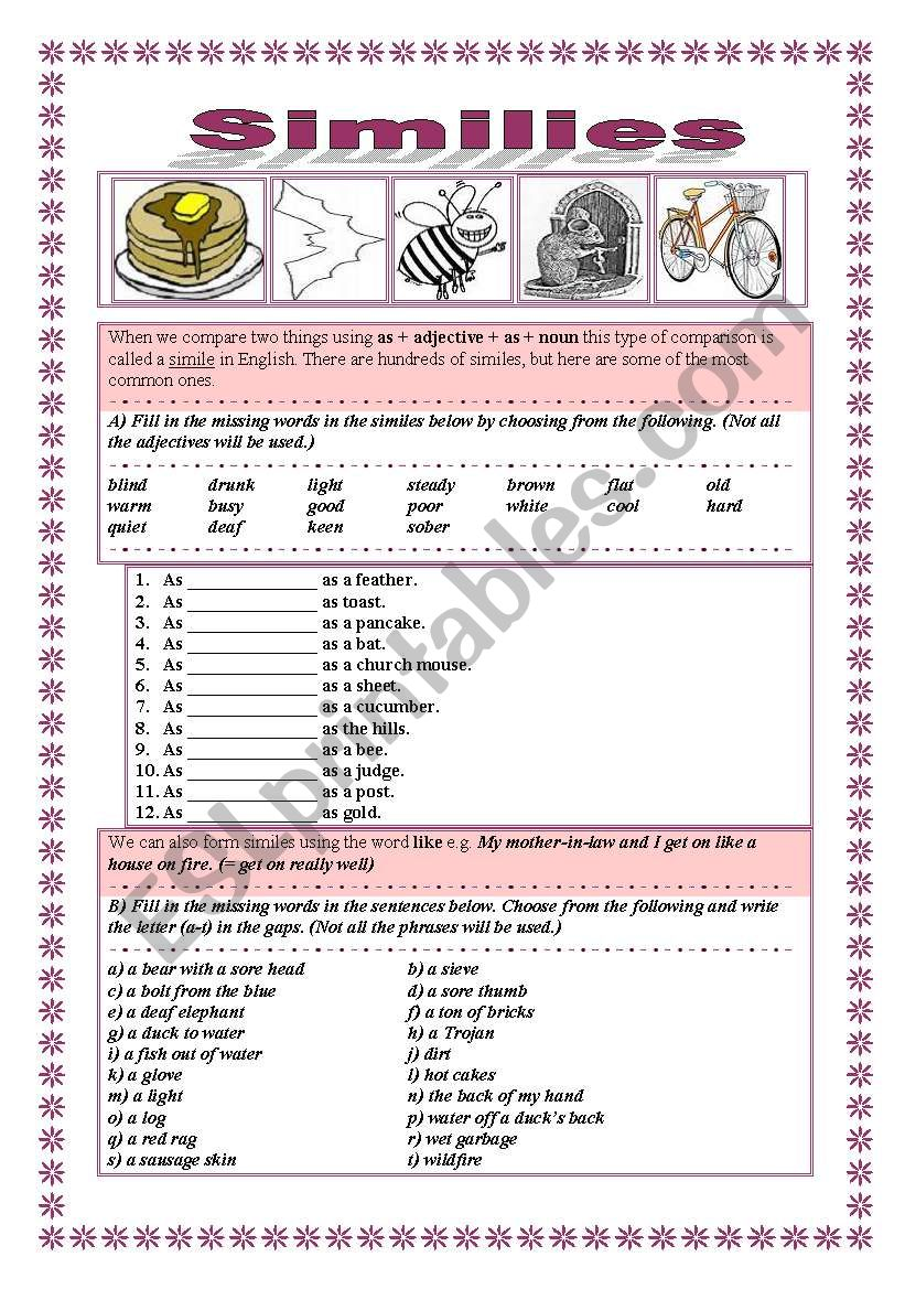 Similes LIKE-AS, 2 pages+key worksheet