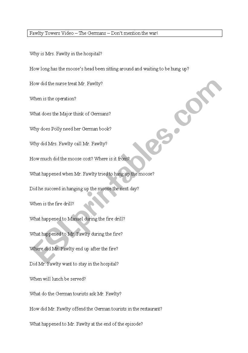 Fawlty Towers Worksheet Questions for the episode The Germans