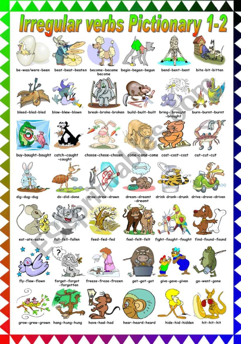 FUNNY IRREGULAR VERBS PICTIONARY (1-2) B&W VERSION INCLUDED