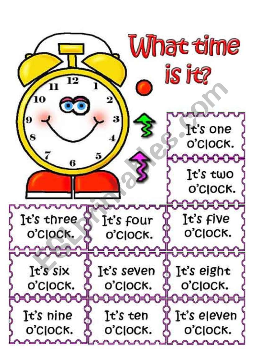 What time is it? Pair work worksheet