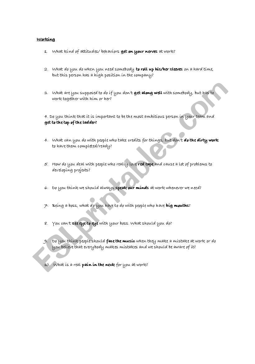 Working- questions and idioms worksheet