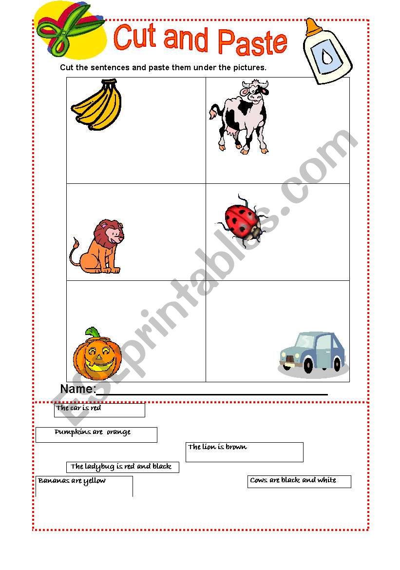 The Colours -Cut and paste  worksheet