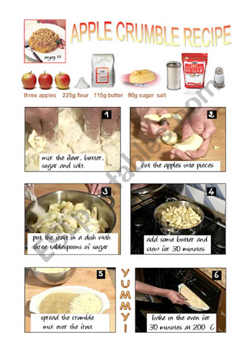 APPLE CRUMBLE RECIPE worksheet