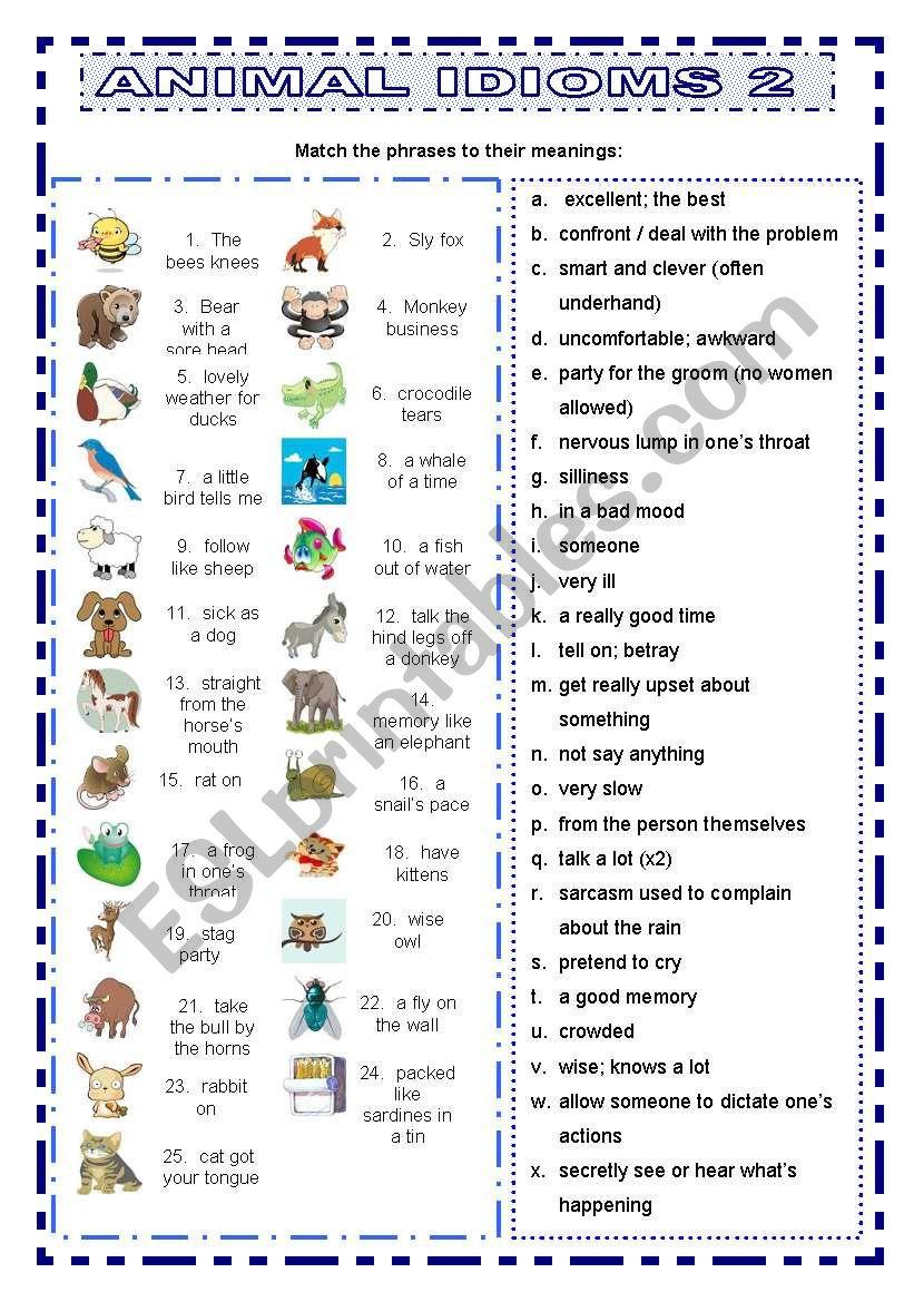 Animal Idioms 2 matching worksheet
