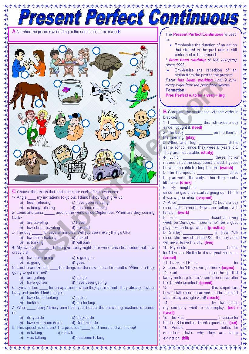 Present Perfect Continuous - Grammar Guide + Exercises (fully editable + keys included)