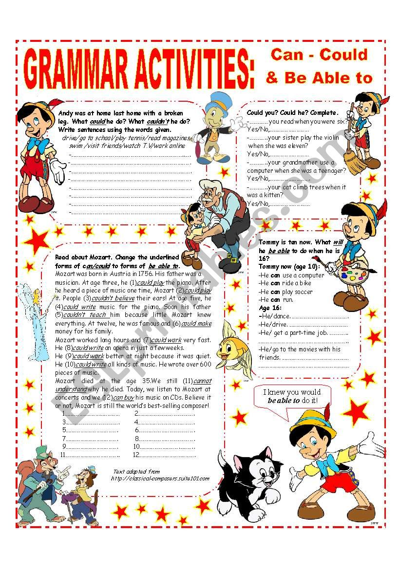GRAMMAR ACTIVITIES - CAN - COULD & BE ABLE TO