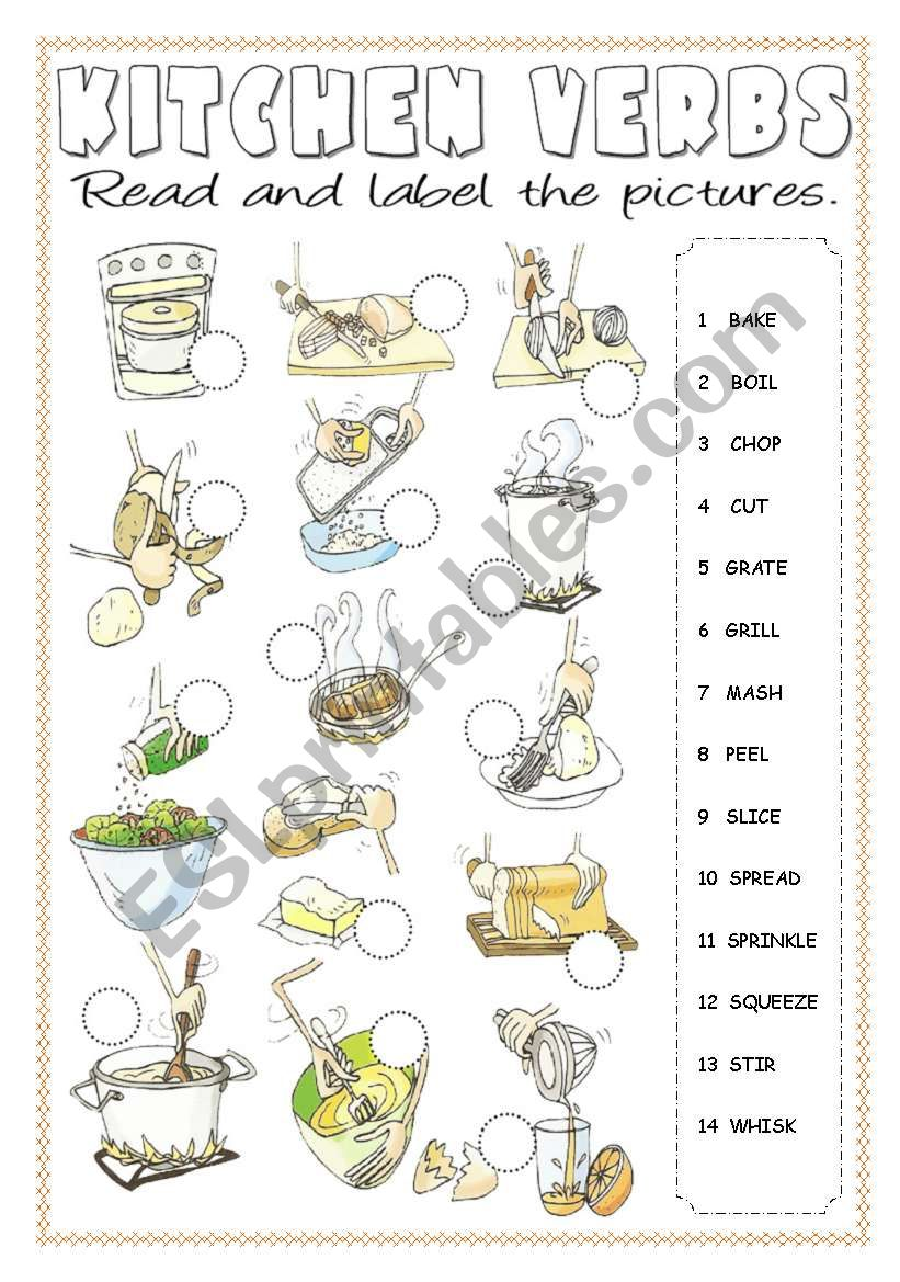 Kitchen Verbs Pictionary worksheet