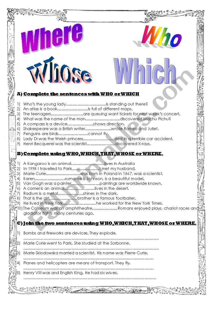 Relative pronouns and adverbs worksheet