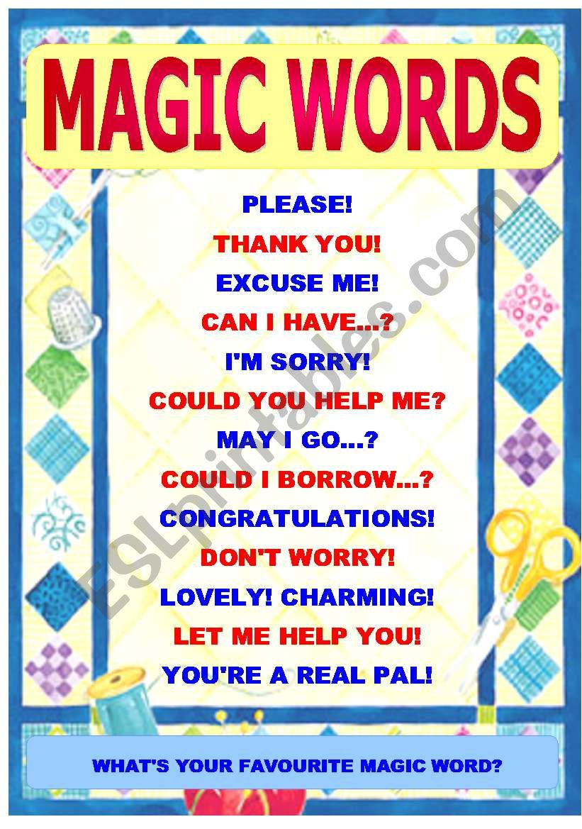 Classroom Poster Ideas ~ Magic words of politeness classroom poster stickers