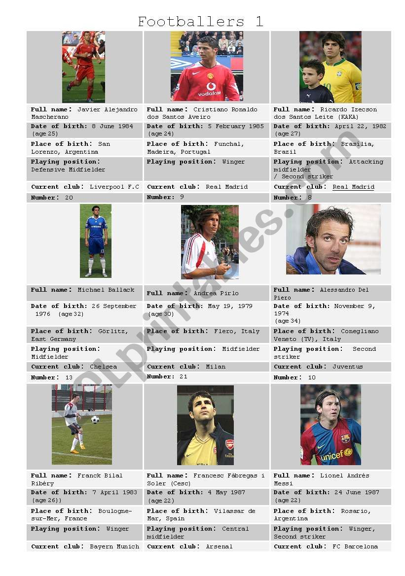 Footballers 1 worksheet