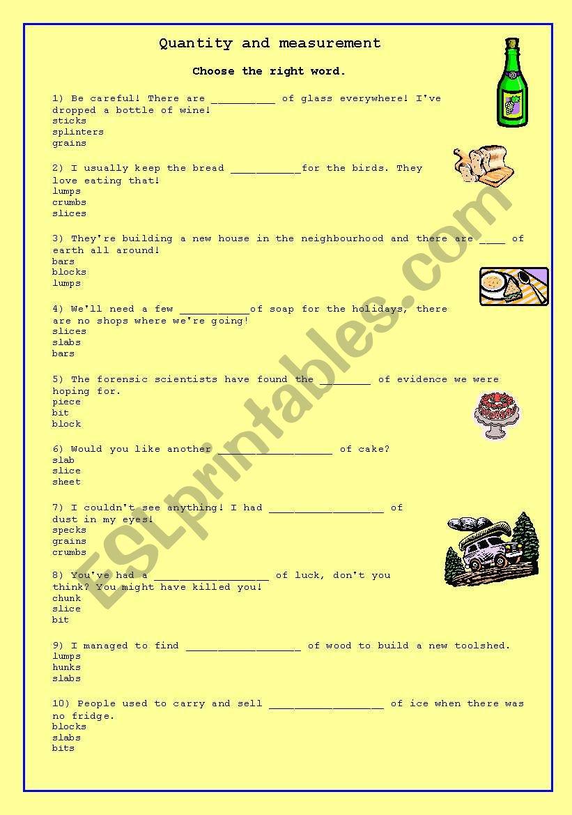 quantity and Measurement worksheet
