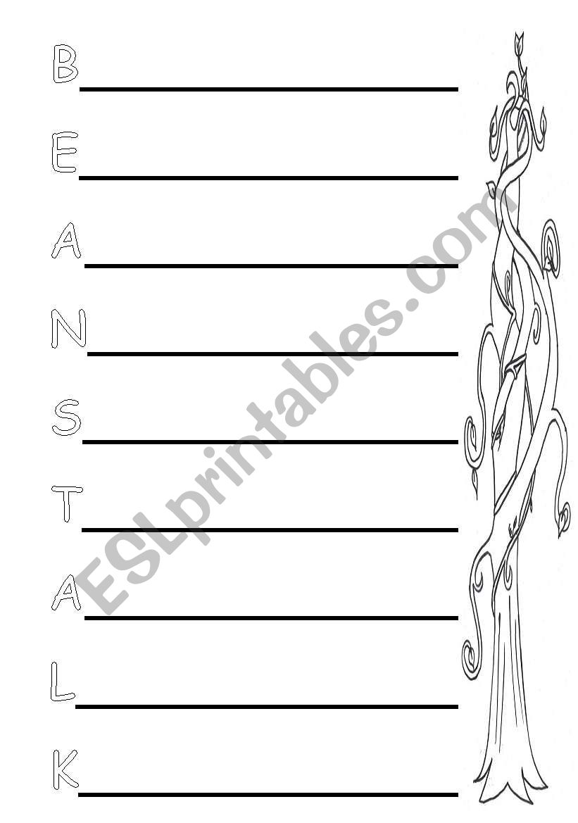 english worksheets  jack and the beanstalk acrostic poem