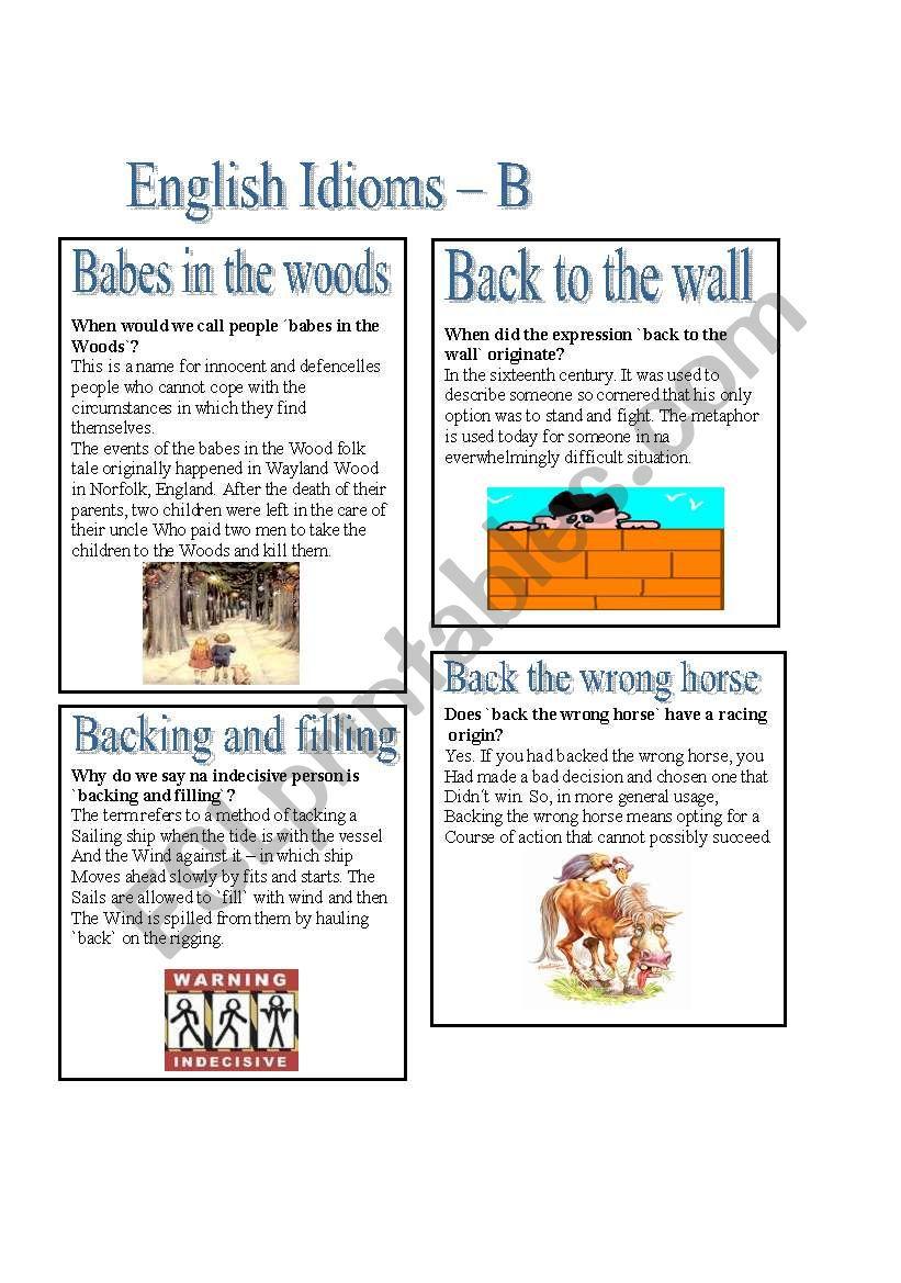 English Idioms - B worksheet
