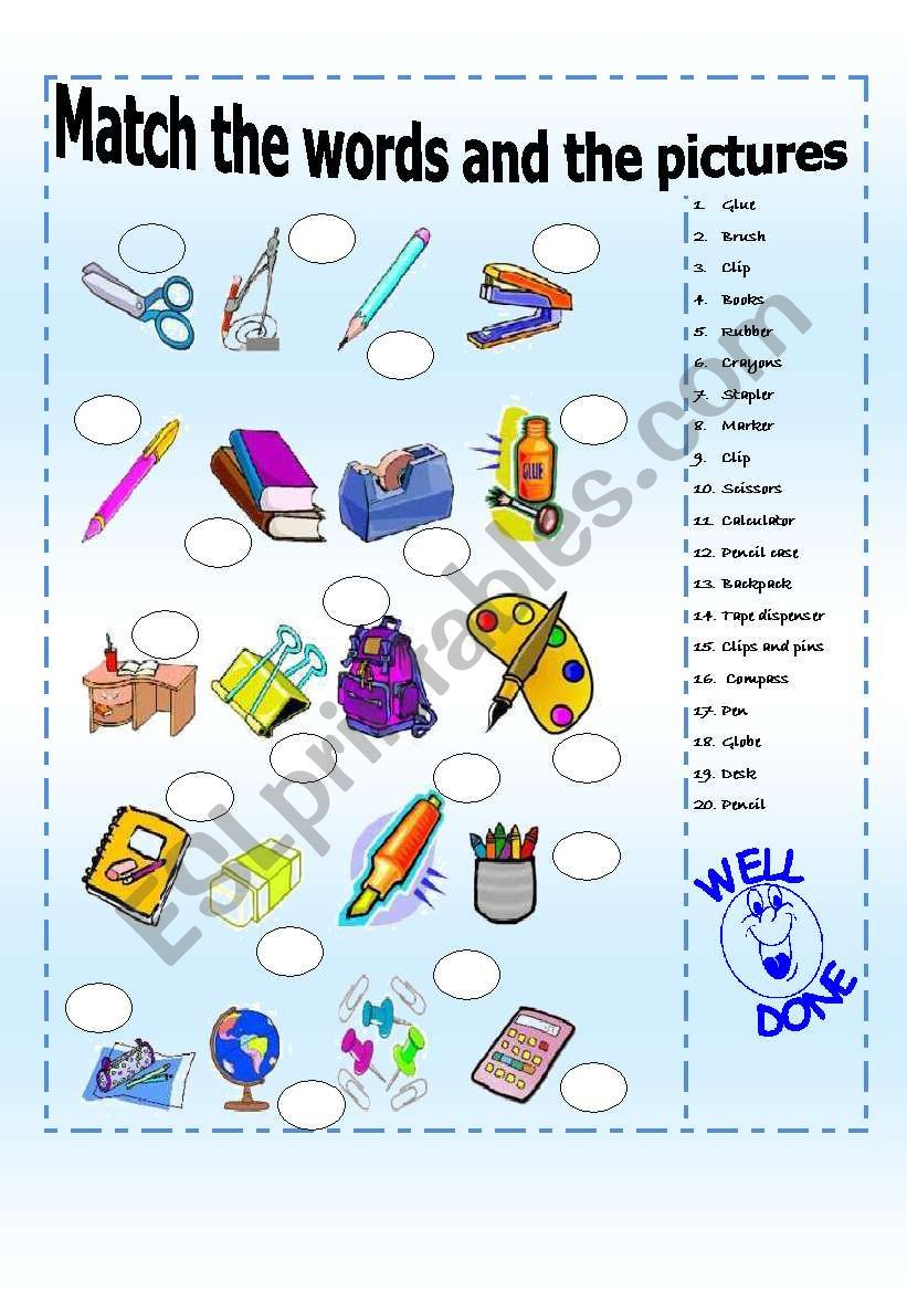 school supplies: match vocabulary and pictures 2/3