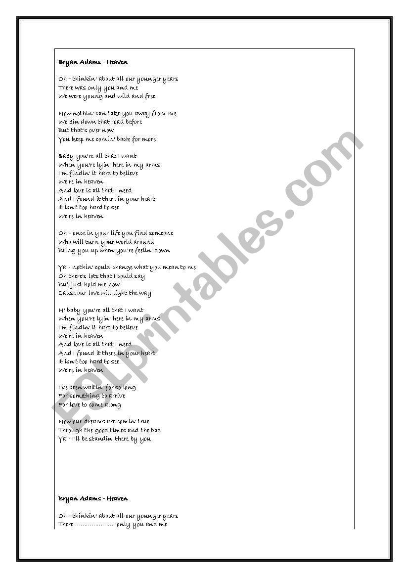 Brian Adams- Heaven worksheet