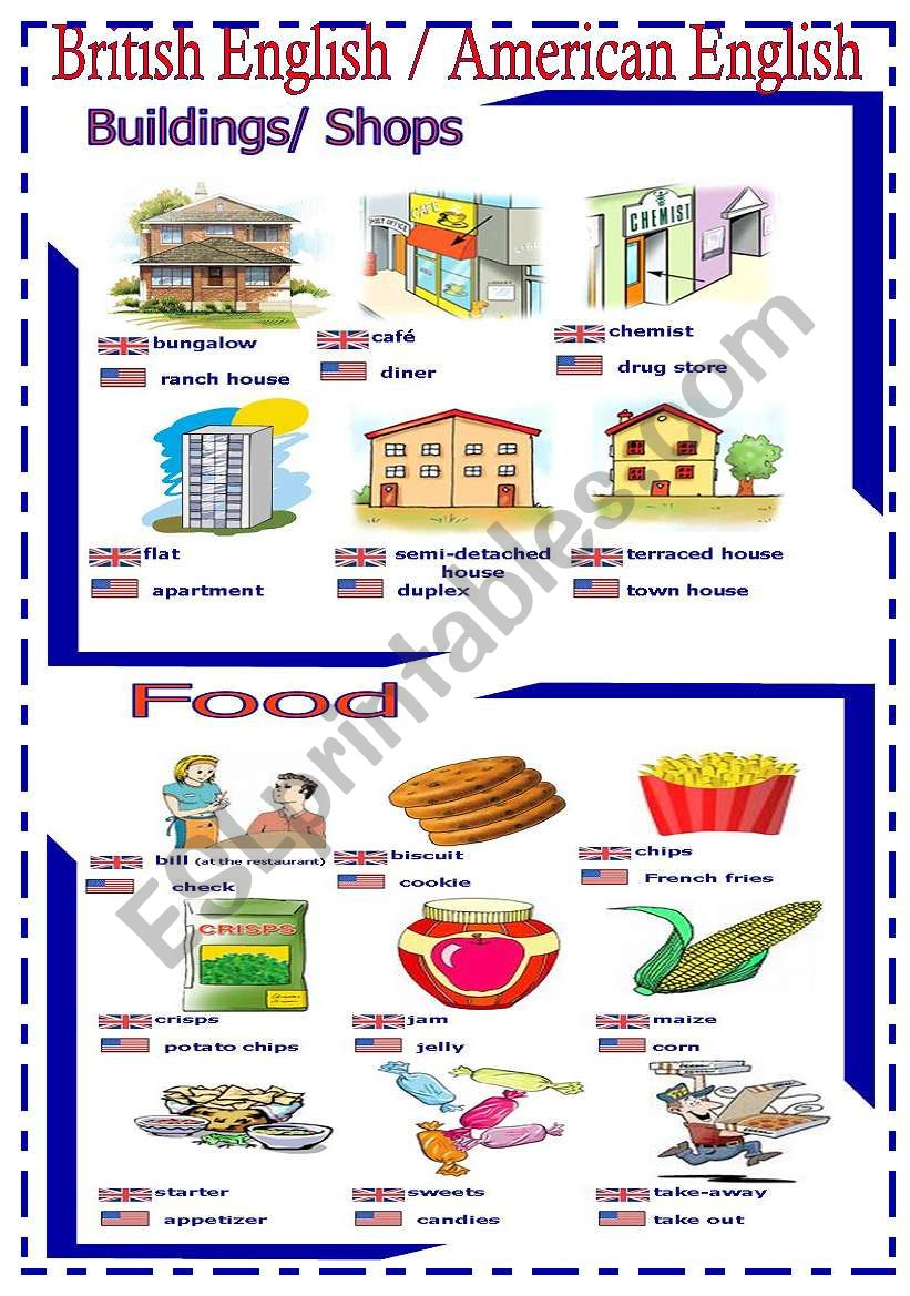 British English  / American English - handout