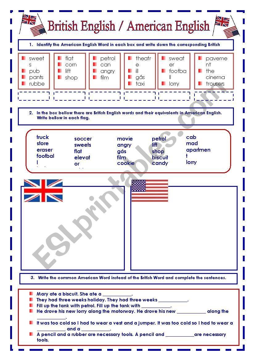 British English  / American English