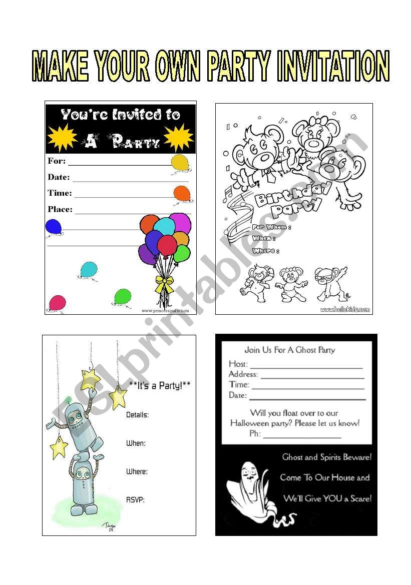 PARTY INVITATIONS worksheet