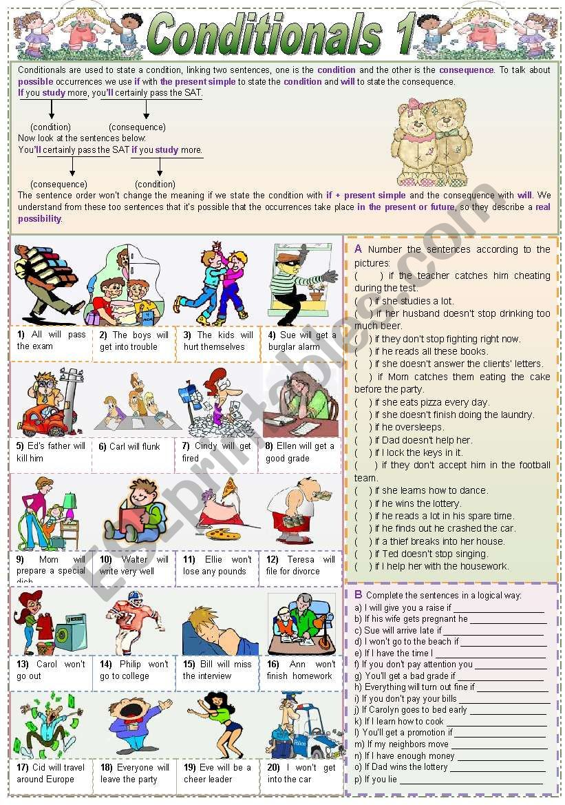 Conditionals - 1 (grammar guide + lots of exercises)
