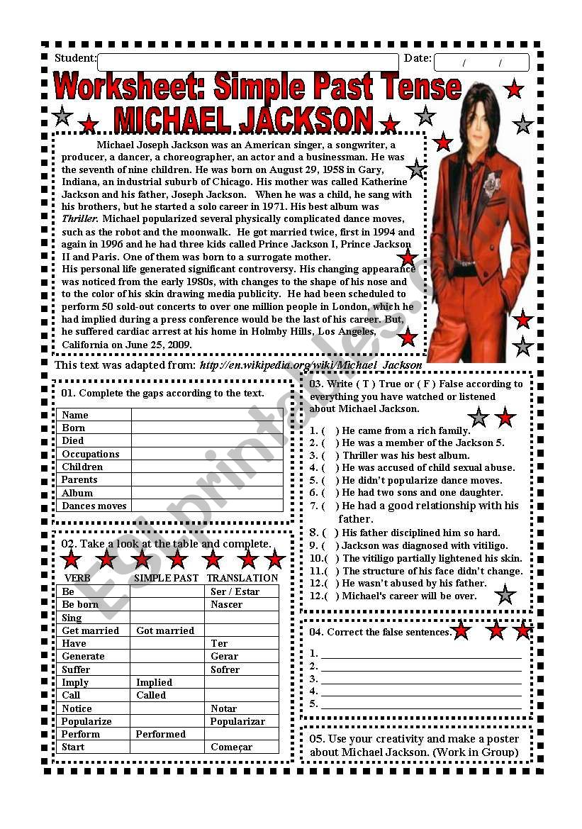 Worksheet: Simple Past Tense (Michael Jackson) - 4 pages