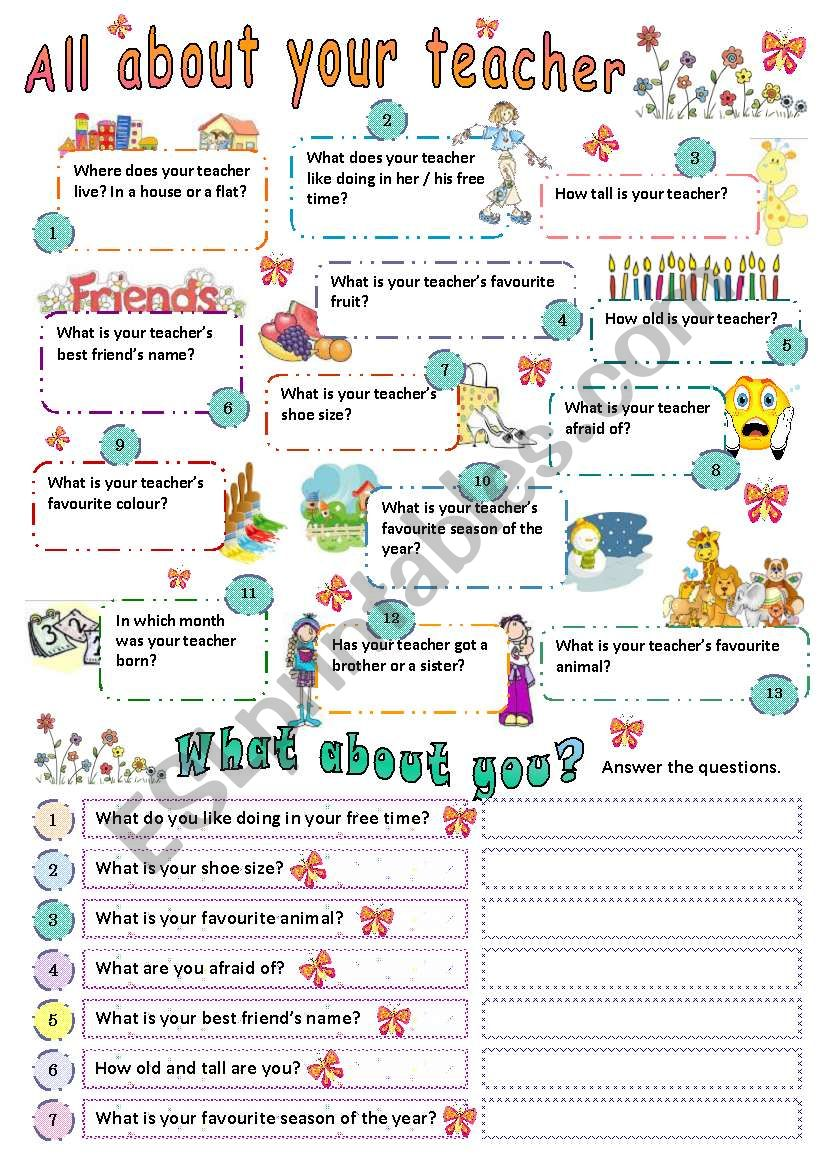 ALL ABOUT YOUR TEACHER worksheet