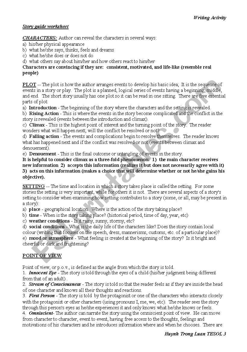 Use a Youtube Video to Teach Narrative Writing - ESL worksheet by