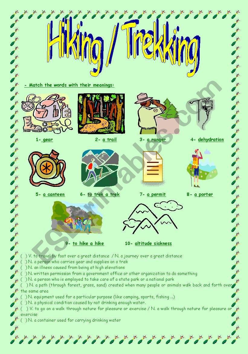 Hiking / Trekking worksheet