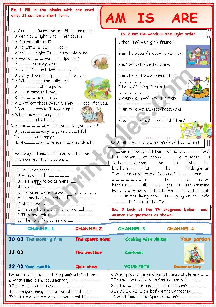 AM  IS ARE worksheet