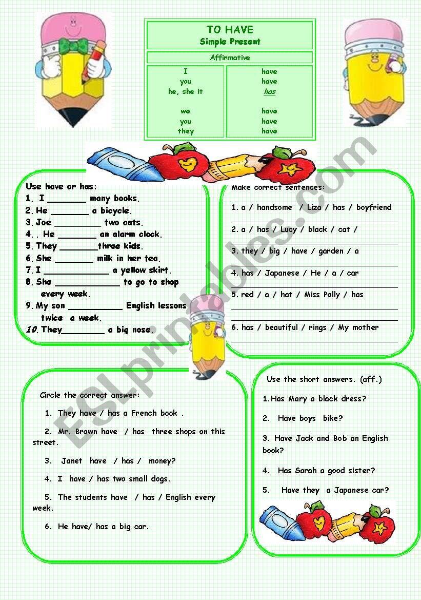 To have (Present simple) worksheet