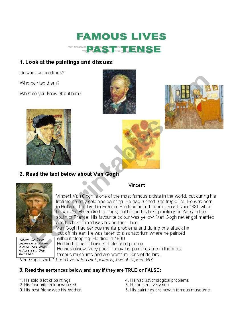 Famous lives worksheet