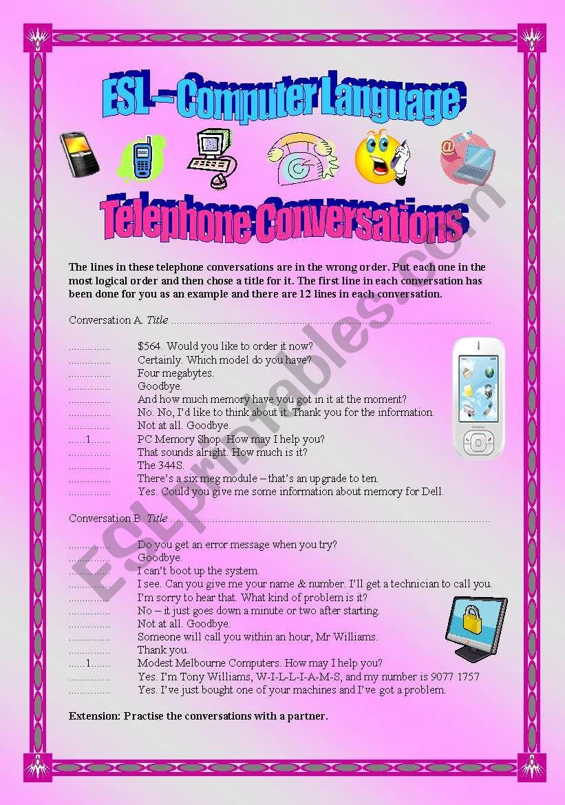 English worksheets: Telephone Conversations - ESL Computer Language